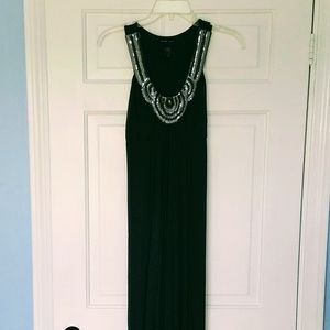 Olive Green & Sequence Maxi Dress